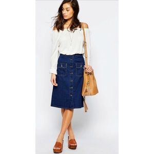 Boohoo Denim Button Down Skirt